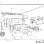 Interior drawing of the Honald Building