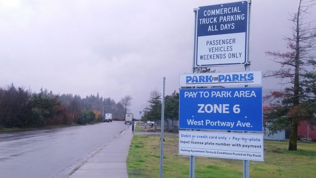 Parking signage at the Port of Hood River waterfront area