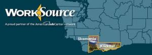 WorkSource Washington logo featuring Skamania and Klickitat counties on state map.