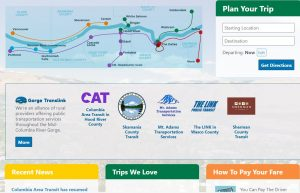 Image of website landing page with a map of the transportation routes for the region.